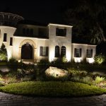 Mansion landscape lit up at night
