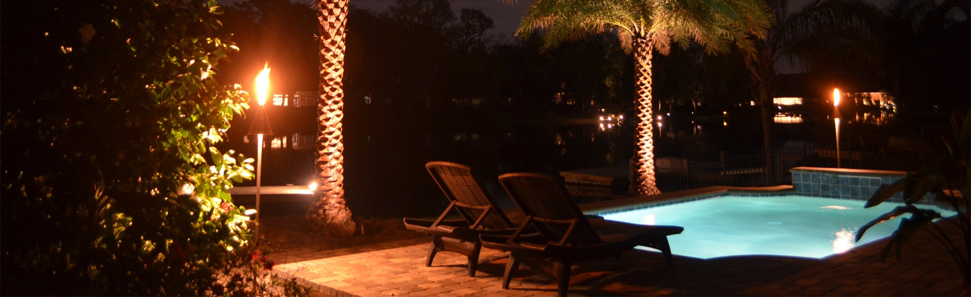 Pool area with lighting