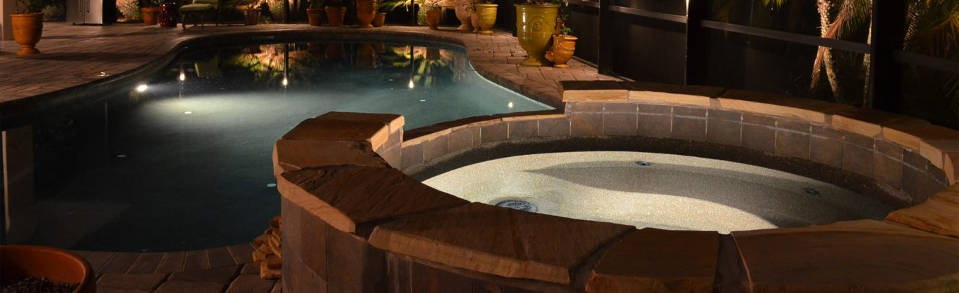 Pool and hot tub with lighting