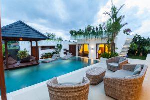 Modern villa with lighting