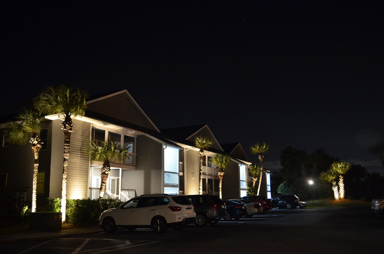 Apartment complex with exterior lights