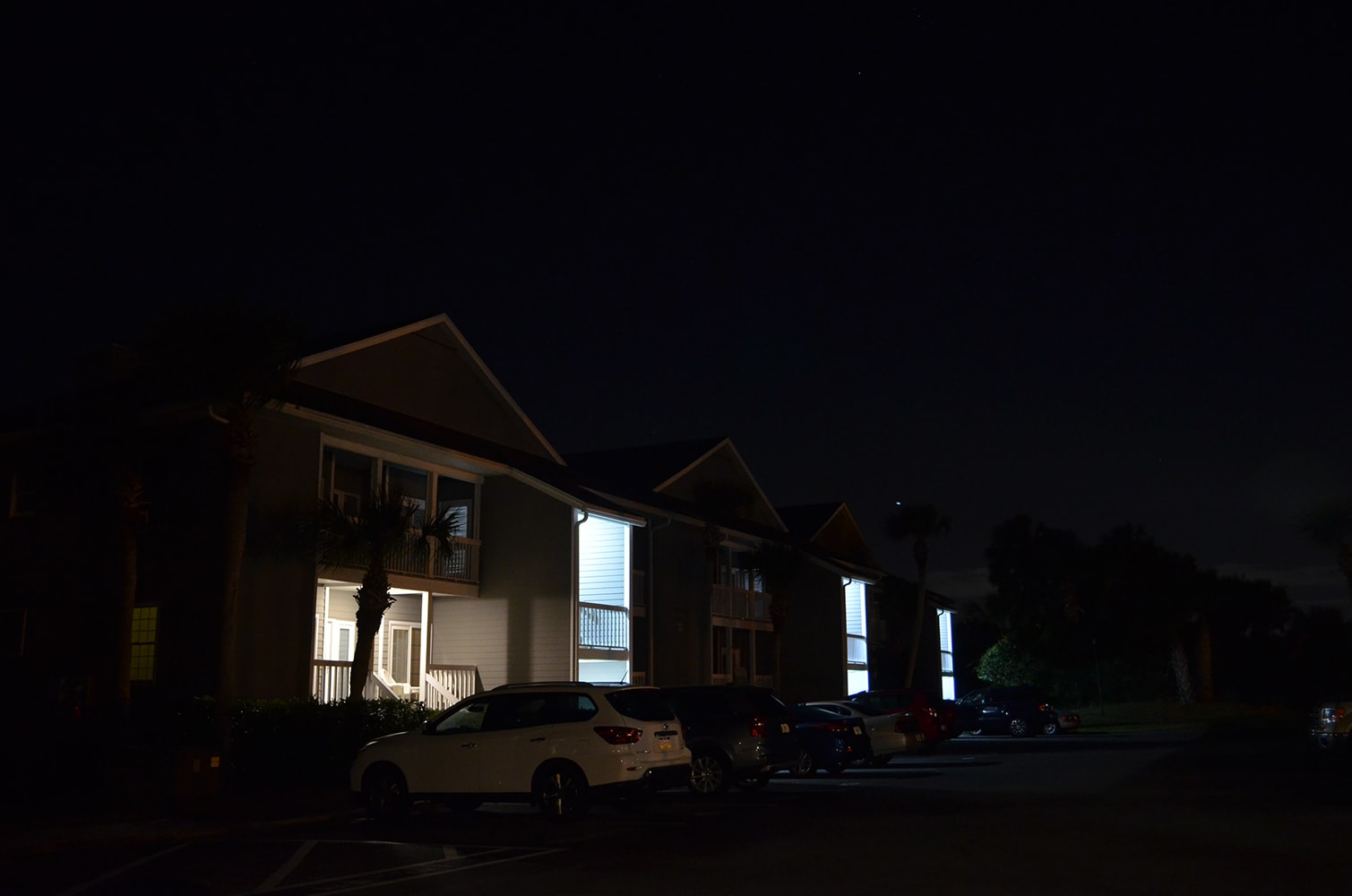 Apartment complex without exterior lights