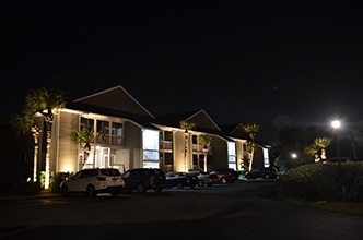 Apartment complex after having custom commercial light system installed