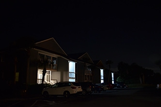 Apartment complex before custom commercial lighting installed