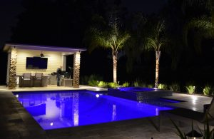 outdoor kitchen and pool lighting